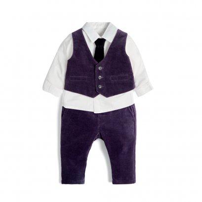 Velvet Waistcoat & Shirt Set
