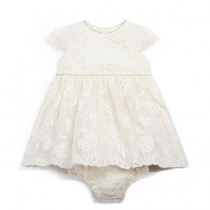 ชุดเดรสลายปัก Organza Lace Dress สีขาวครีม