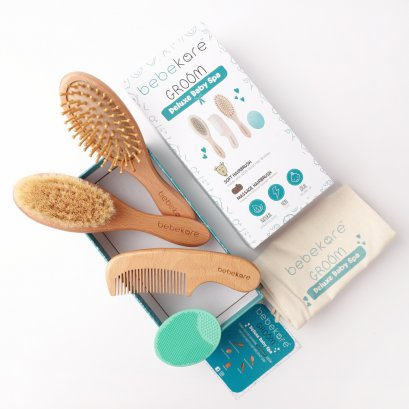 bebekare - Groom 5 Piece All Natural Baby Hair Grooming Kit - เซทเเปรงหวีผมสำหรับเด็กอ่อนเเรกเกิด