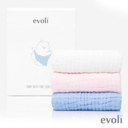 Evoli Baby Bath Time Towel ผ้าเช็ดตัว จากผ้าคอตตอน 100%