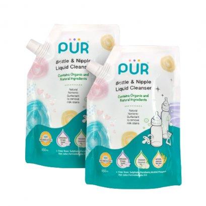 PUR น้ำยาล้างขวดนมและจุกนม ชนิดถุงเติม ขนาด 450 ml.