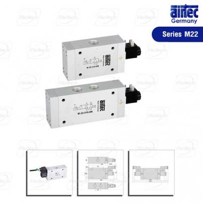 Series M-22 electrically operated 3/2-way, 5/2-way and 5/3-way, nominal size 14 mm, G1/2