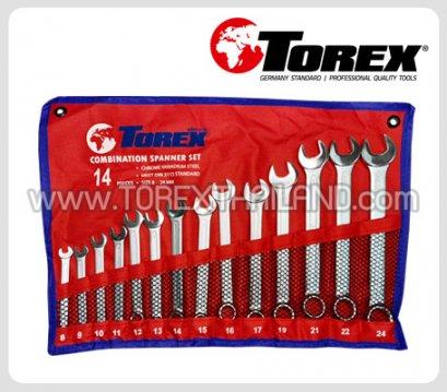 TOREX ประแจแหวนข้างปากตายชุด 14 ตัว ขนาด 8 - 24 มม.