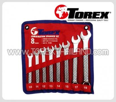 TOREX ประแจแหวนข้างปากตายชุด 8 ตัว ขนาด 10 - 19 มม.