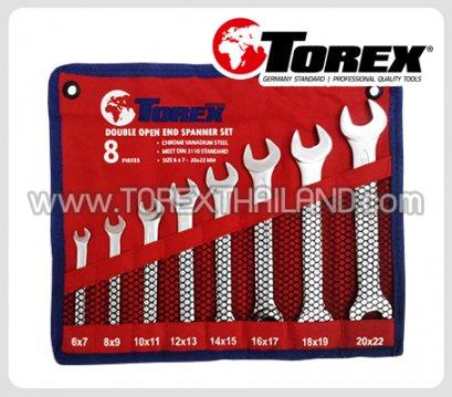 TOREX ประแจปากตายชุด 8 ตัว ขนาด 6 x 7 - 20 x 22 มม.