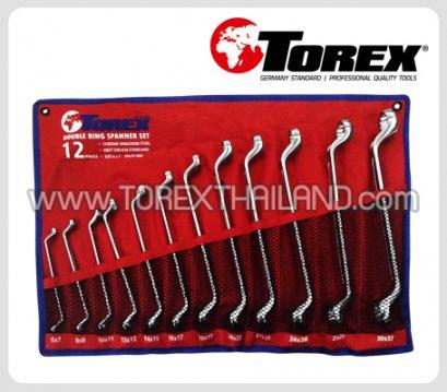 TOREX ประแจแหวนชุด 12 ตัว ขนาด 6 x 7 - 27 x 32 มม.