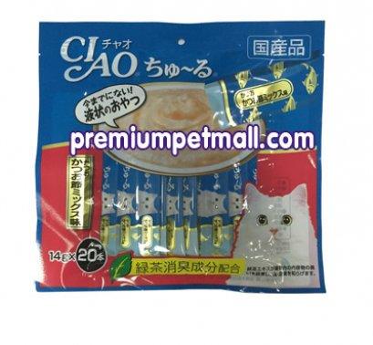 ขนมแมวเลีย Ciao เชี่ยว จากญี่ปุ่น สูตรปลาทูน่าผสมปลาโอแห้ง  (20แท่ง) ซองใหญ่สุดคุ้ม