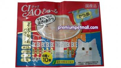 ขนมแมวเลีย Ciao เชี่ยว จากญี่ปุ่น รวมรสทูน่าเนื้อขาว+ทูน่าคัตซึโอะ 40 แท่ง แถม 10 แท่ง