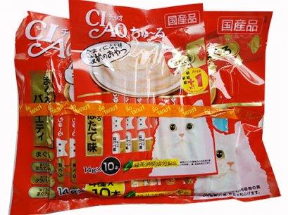ขนมแมวเลีย Ciao เชี่ยว จากญี่ปุ่น รวมปลาเนื้อขาว 40 แท่ง แถม 10 แท่ง