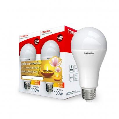 ชุดสังฑทานหลอดไฟ Toshiba LED Bulb A67 15W 2700K