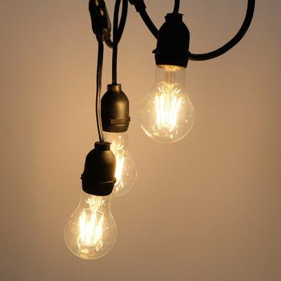 สายไฟระย้า ไฟห้อย ขั้วเกลียว E27 5 หรือ 10 เมตร พร้อม หลอด LED โตชิบา 6 W ทรงวินเทจ แสงวอร์มไวท์ (สายไฟประดับตกแต่งกันน้ำ)
