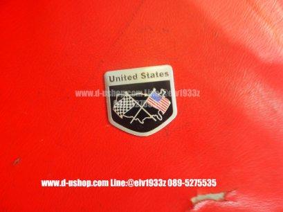 เพทโลโก้ United States พื้นดำ สำหรับติดรถทุกรุ่น รุ่น5เหลี่ยม