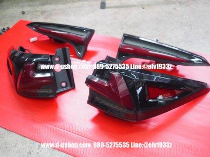 โคมไฟท้ายดำแดงLED ตรงรุ่น Toyota Fortuner ALL NEW 2015-19