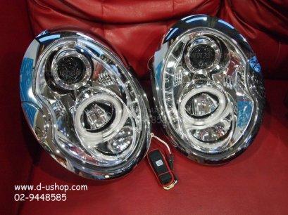 โคมขาวไฟหน้าโปรเจคเตอร์พร้อมวงแหวน LED Mini Cooper R-50,R-53