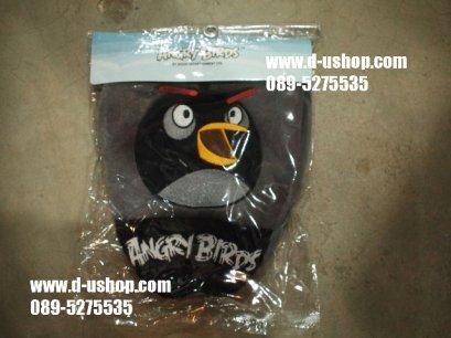 ผ้าคลุมหัวเบาะ ลาย Angry Bird สีเทาดำ สำหรับรถทุกรุ่น