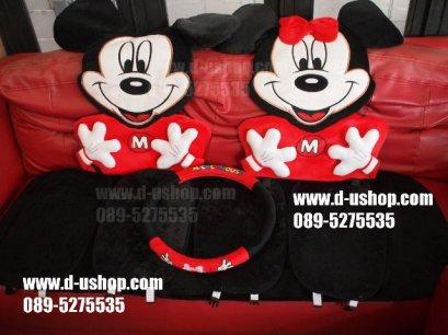 ชุดผ้าคลุมเบาะลาย  Mickey MouseสีแดงดำVer.2 สำหรับรถทุกรุ่น
