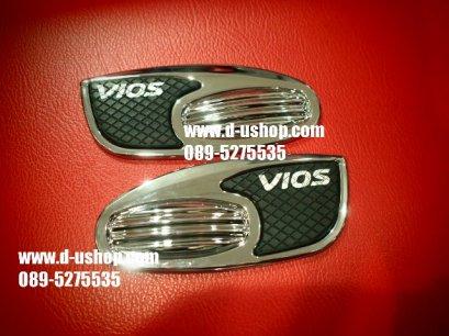ครอบไฟแก้มโครเมียม Toyota Vios All New 2013 ลายเคฟล่า Ver.1