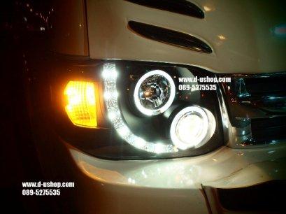 โคมไฟหน้าโปรเจคเตอร์พื้นดำ Toyota Commuter 2013 สไตล์Audi