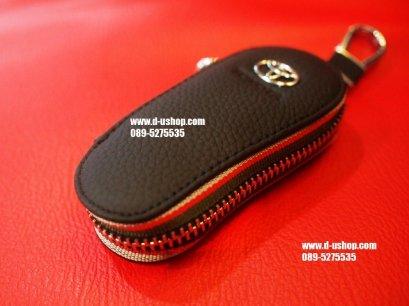 กระเป่ากุญแจหนังแท้สีดำแบบมนเรียวตรงรุ่น Toyota