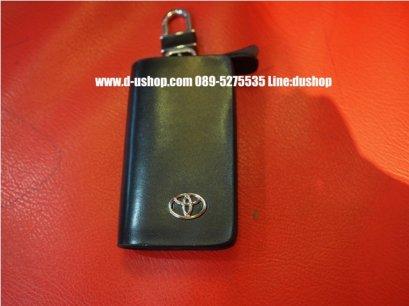 กระเป๋ากุญแจหนังดำแบบมีโลโก้รุ่นมีซิปปิดเปิด Toyota รุ่นสีดำ