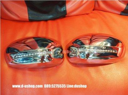 ครอบกระจกมองข้างโครเมียมมีไฟ LED ตรงรุ่น Honda Mobilio