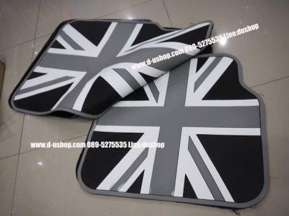 ผ้ายางปูพื้นลาย ธงชาติอังกฤษเทาดำ สำหรับรถทุกรุ่น
