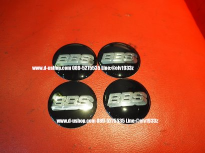 ดุมล้อโลโก้ BBS พื้นดำอักษรสีเงิน สำหรับรถทุกรุ่น