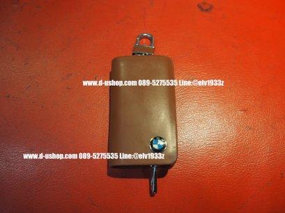 กระเป๋ากุญแจรถยนต์หนังน้ำตาลแบบมีซิปทรงเหลี่ยมโลโก้ BMW