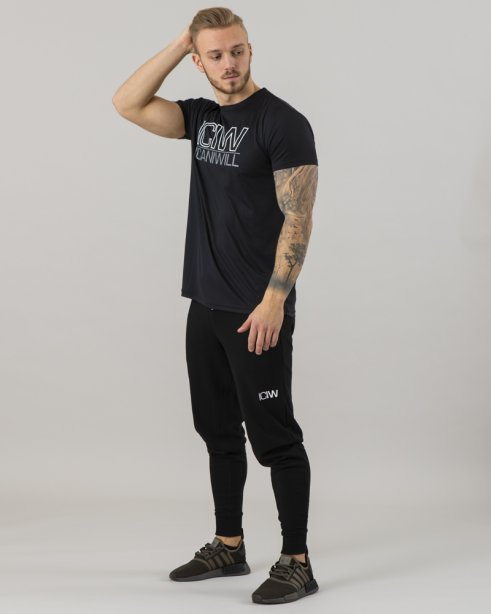Workout Mesh T-shirt Black Men Cotton 38%