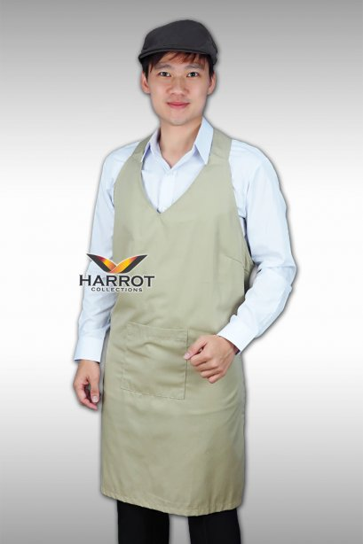 BEIGE COLORED V-NECK FULL APRON
