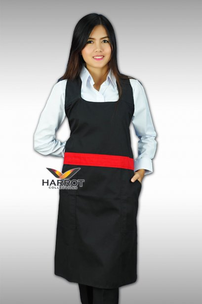 RED PIPING - BLACK FULL APRON