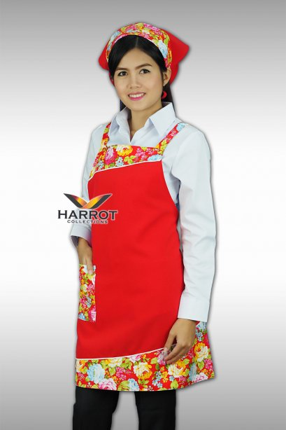 FABRIC -RED FULL APRON SET