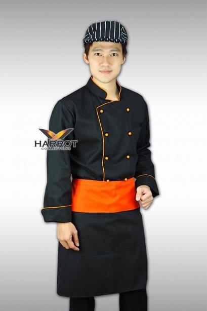 เสื้อกุ๊ก แขนยาว สีดำกุ๊นส้ม กระดุมถอดได้สีส้ม