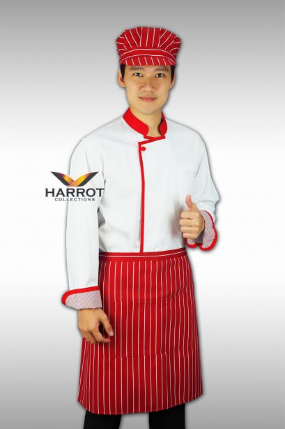 Red piping-White Chef Jacket