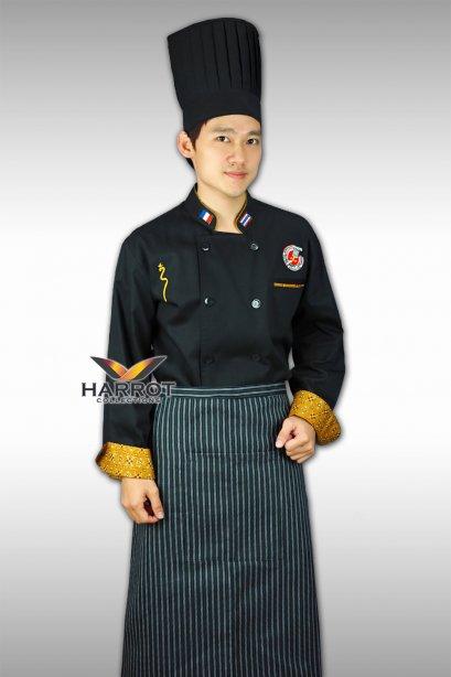 เสื้อกุ๊กแขนยาวสีดำ ปลายแขนและปากกระเป๋า แต่งผ้าลายไทย