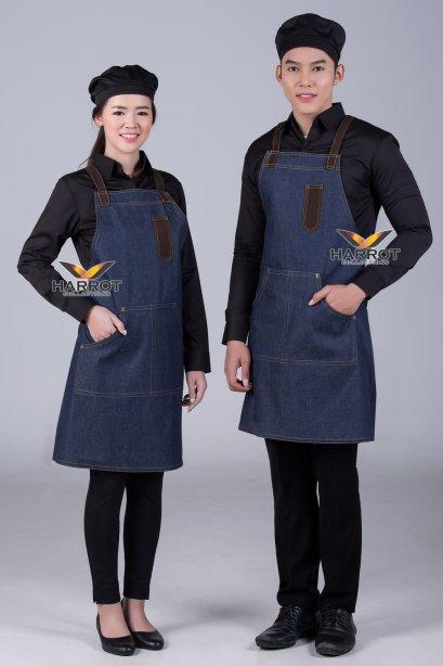 ผ้ากันเปื้อน ผ้ากันเปื้อนเชฟ ผ้ากันเปื้อนพ่อครัว ผ้ากันเปื้อนกุ๊ก ผ้ากันเปื้อนเสิร์ฟ เต็มตัว ยีนส์น้ำเงิน (FSA1101)