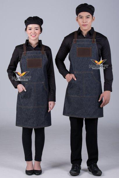 ผ้ากันเปื้อน ผ้ากันเปื้อนเชฟ ผ้ากันเปื้อนพ่อครัว ผ้ากันเปื้อนกุ๊ก ผ้ากันเปื้อนเสิร์ฟ เต็มตัว ยีนส์ดำ (FSA1102)