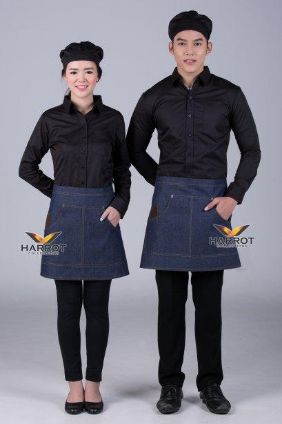 ผ้ากันเปื้อน ผ้ากันเปื้อนเชฟ ผ้ากันเปื้อนพ่อครัว ผ้ากันเปื้อนกุ๊ก ผ้ากันเปื้อนเสิร์ฟ ครึ่งสั้น ยีนส์น้ำเงิน (FSA1103)