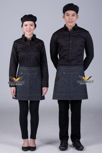 ผ้ากันเปื้อน ผ้ากันเปื้อนเชฟ ผ้ากันเปื้อนพ่อครัว ผ้ากันเปื้อนกุ๊ก ผ้ากันเปื้อนเสิร์ฟ ครึ่งสั้น ยีนส์ดำ (FSA1104)