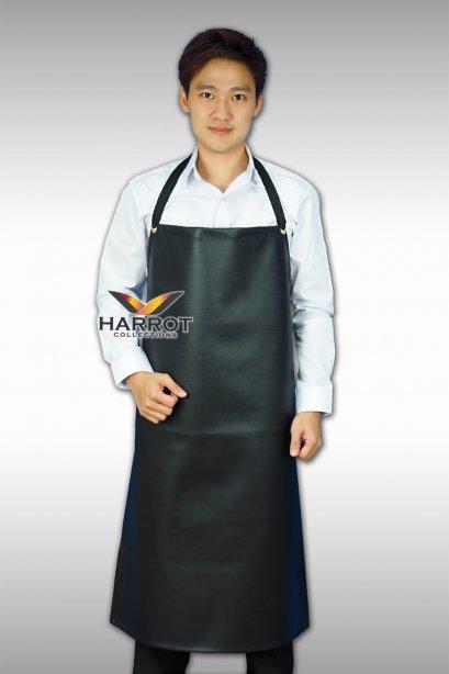 ผ้ากันเปื้อน ผ้ากันเปื้อนเชฟ ผ้ากันเปื้อนพ่อครัว ผ้ากันเปื้อนกุ๊ก ผ้ากันเปื้อนเสิร์ฟ หนังเทียม สีดำ แบบเต็มตัว (FSA0802)