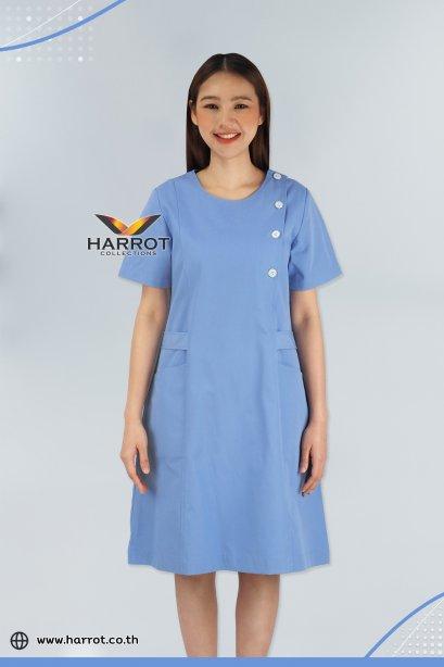 Blue Round neck Nurse Dress (HPD0001)