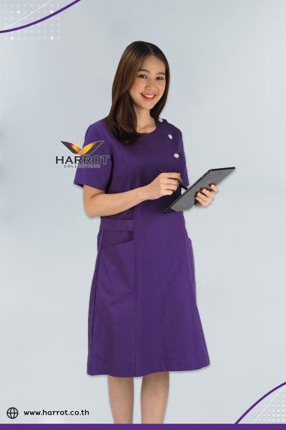 Purple Round neck Nurse Dress (HPD0003)
