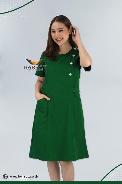Green Round neck Nurse Dress (HPD0004)