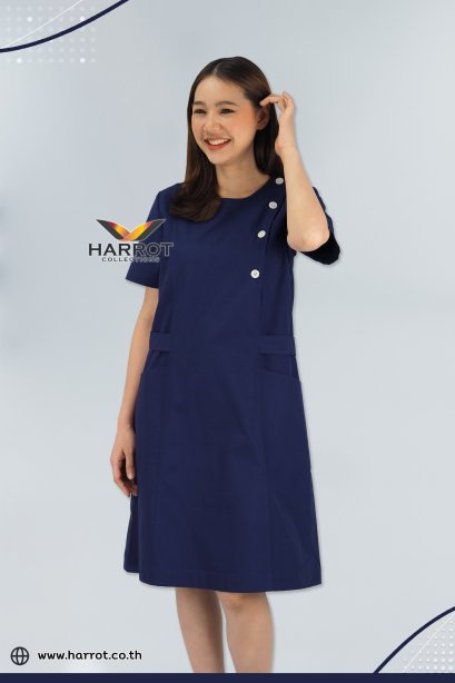 Dark blue round neck Nurse Dress (HPD0005)