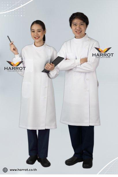 เสื้อกาวน์ เสื้อกาวน์ทันตกรรม ชุดหมอฟัน เสื้อผู้ช่วยทันตแพทย์ เสื้อกาวน์ เสื้อพยาบาล ชุดพยาบาล แบบยาว แขนยาว ปลายแขนจั๊ม สีขาว (HPG0251)