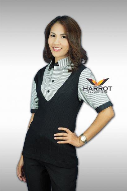 เสื้อพนักงาน สีดำ แต่งหลอก 2 ชั้น ด้วยผ้าลาย