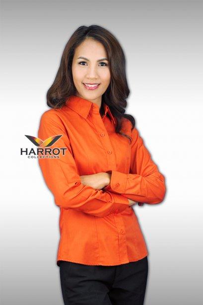 เสื้อพนักงาน แขนยาว สีส้ม