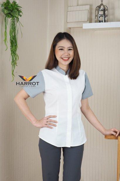 เสื้อพนักงาน คอจีน สีขาว แต่งสีเทา