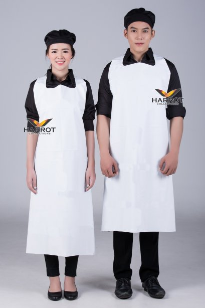 ผ้ากันเปื้อน ผ้ากันเปื้อนเชฟ ผ้ากันเปื้อนพ่อครัว ผ้ากันเปื้อนกุ๊ก ผ้ากันเปื้อนเสิร์ฟ พลาสติก PU สีขาว (FSA2011)
