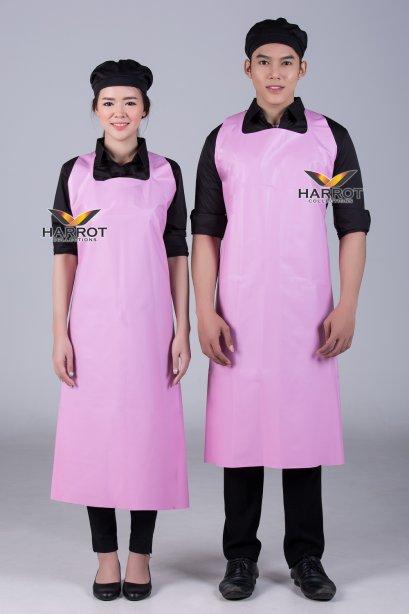 ผ้ากันเปื้อน ผ้ากันเปื้อนเชฟ ผ้ากันเปื้อนพ่อครัว ผ้ากันเปื้อนกุ๊ก ผ้ากันเปื้อนเสิร์ฟ พลาสติก PU สีชมพู (FSA2013)